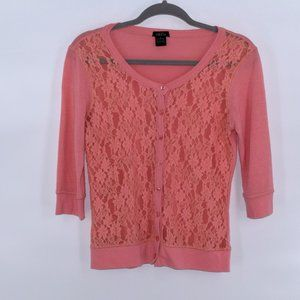 4/$16 Coral Lace Front 3/4 Sleeve Cardi Rue 21 L